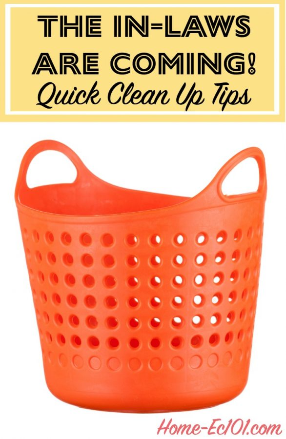 What's the best plan of attack if I need to make the house *look* clean for visiting parents or (especially) in-laws? Here are emergency clean up tips...