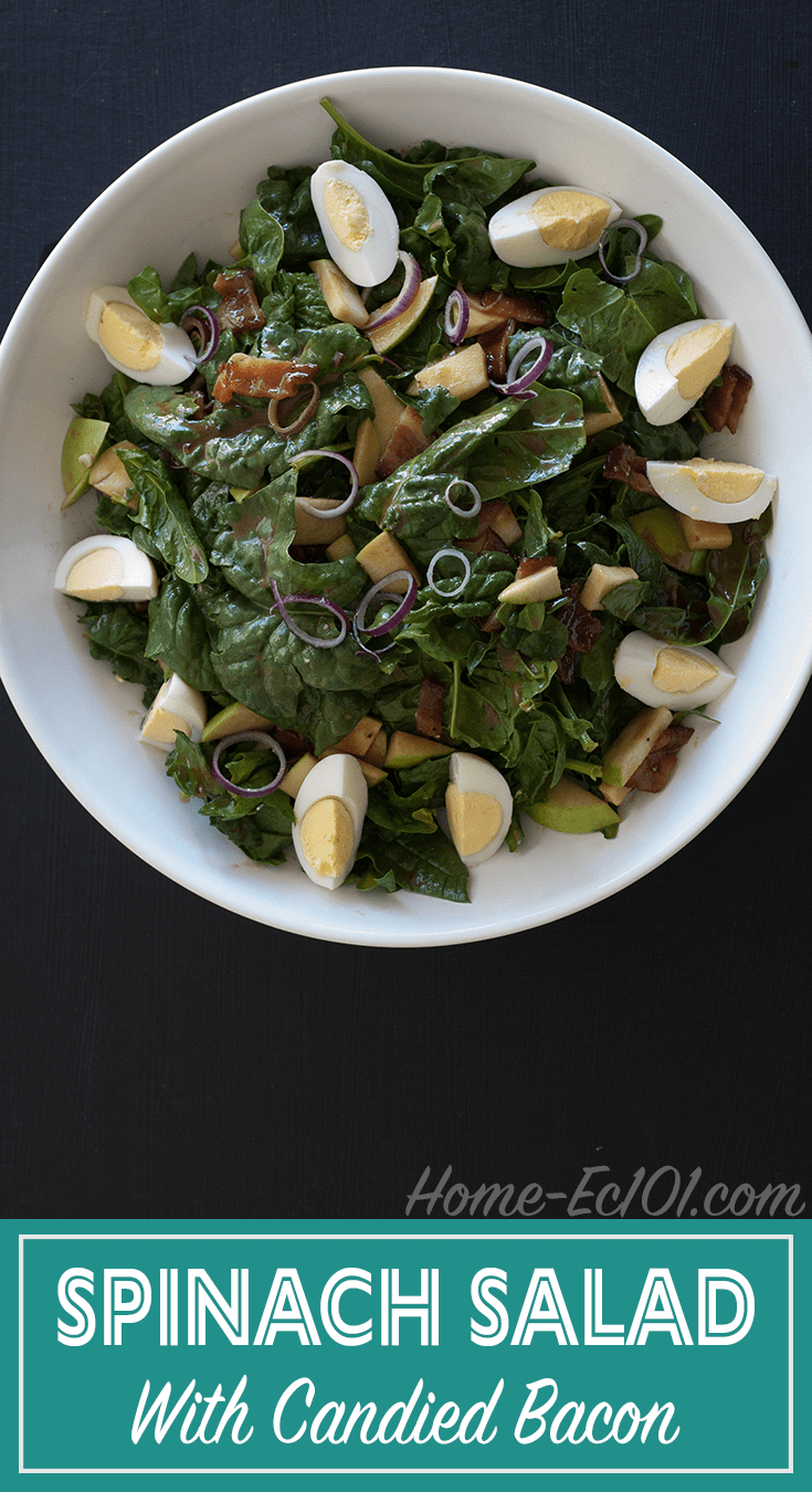 Wilted Spinach Salad with Peppered, Candied Bacon
