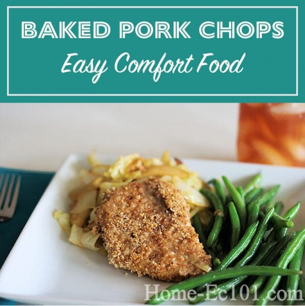 Baked pork chops are quick, simple, and easy on the budget. It's a great recipe to use when teaching kids how to cook and plan meals.