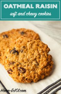 This delicious oatmeal raisin cookie recipe creates a chewy rather than crisp cookie.