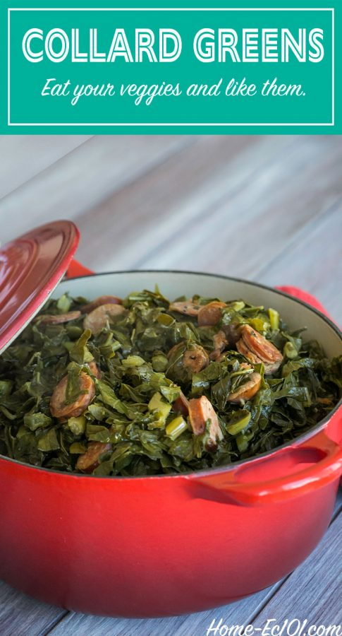 This simple recipe for Southern collard greens can easily be made in the crockpot as soon as the sausage has been browned. It's a perfect recipe for Thanksgiving that will free up a burner on the stove.