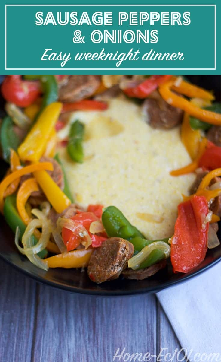 Sausage, peppers, and onions my go-to weeknight meal. Serve over rice, grits / polenta or pasta.