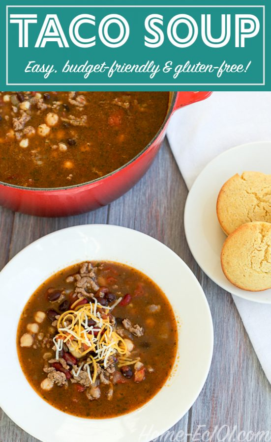 Taco Soup, easy enough for weeknight cooking. It makes a large batch, perfect for freezing for a busy night down the road.