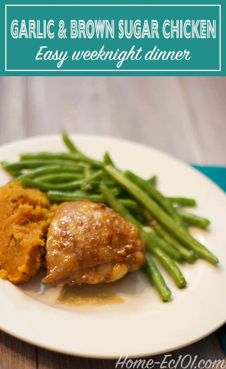 This recipe for garlic brown sugar glazed chicken is a family favorite. The chicken recipe is simple enough for a weeknight and makes a budget-friendly meal.