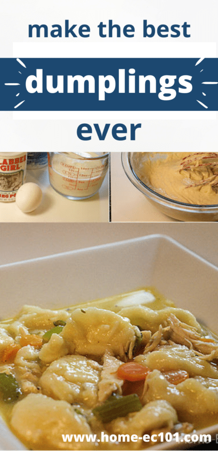 Collage of dumpling ingredients, with a bowl of chicken and dumplings
