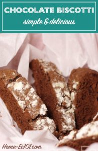 I prefer this chocolate biscotti recipe without the chocolate chips and with the walnuts, but since I was making it for the family, they got it their way.