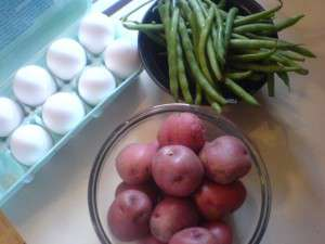Hearty Potato Egg and Green Bean Salad - Three easy ingredients