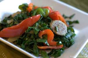 Collard greens, bell peppers, Italian sausage