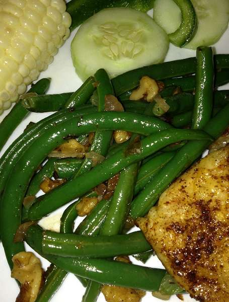 Butter Toasted Walnut Green Beans - dinner is served