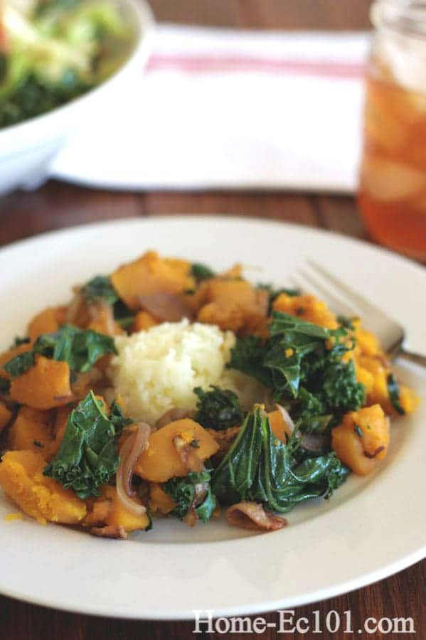Butternut Squash, Poblano, and Bacon Skillet