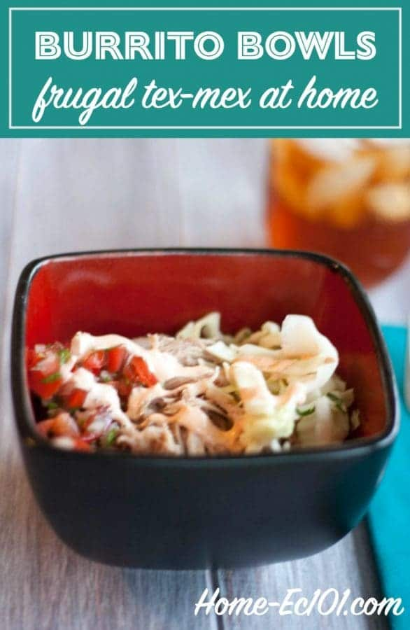 With this tex-mex recipe we get our Chipotle fix for significantly less than half the cost, with plenty of leftovers for school lunches.