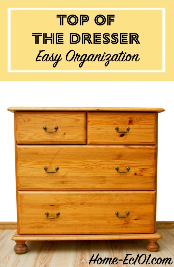 As with most horizontal surfaces, dressers tend to become a catch-all. Your easy organization challenge is to clear off the dresser.